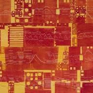 Science Vibrante, 2013, 117 x 244 cm.  Techniques mixtes sur papier perforé.  Réalisation de l'oeuvre d'art pour le Cegep de Sherbrooke, LAAMS, Sherbrooke, Quebec.